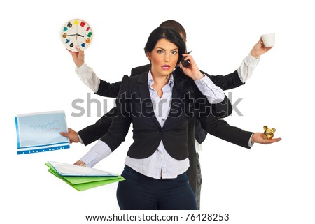 Busy business people holding different objects and a shocked businesswoman talking by phone mobile in front of them isolated on white background - stock photo