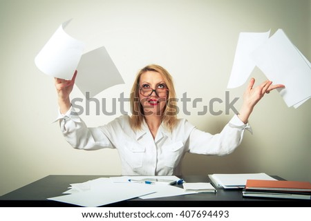 busy business woman having troubles - stock photo