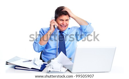 Busy businessman with laptop computer. Isolated on white background. - stock photo