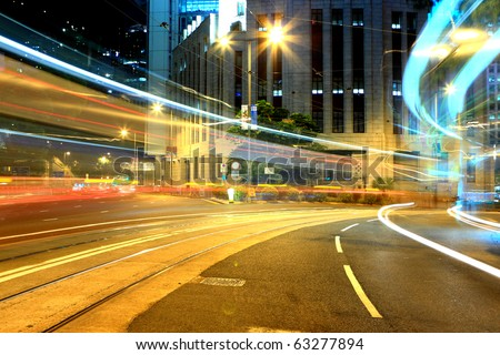 busy city night - stock photo