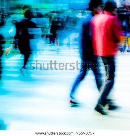 busy city pedestrian people crowd walk on road zebra crossing - stock photo