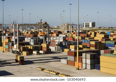 Busy container terminal in South Africa - stock photo