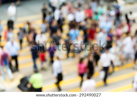 Busy Crossing Street in Hong Kong - stock photo