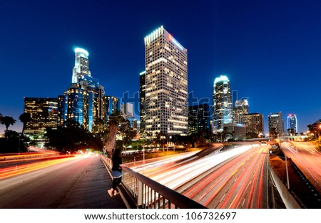Busy Downtown Los Angeles - stock photo