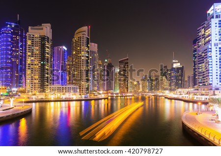 Busy Dubai Marina at night,Dubai,United Arab Emirates - stock photo