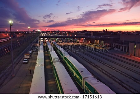 Busy evening at a railroad yard. - stock photo