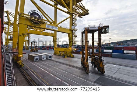 Busy Industrial Shipping Terminal in South America - stock photo