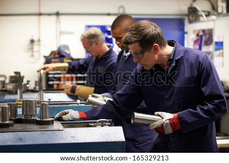 Busy Interior Of Engineering Workshop - stock photo
