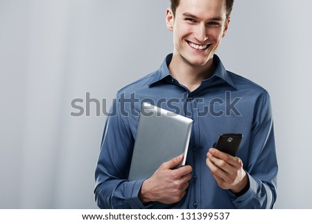 Busy man - stock photo