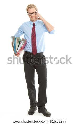 busy man with phone and folders - stock photo