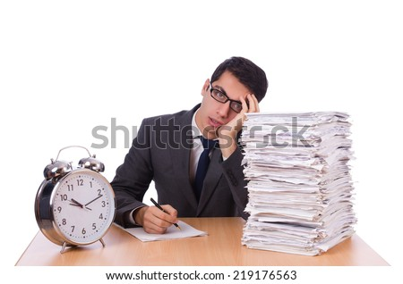 Busy man with stack of papers isolated on white - stock photo