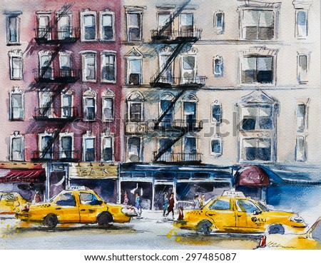 Busy New York street. Watercolor sketch.  - stock photo