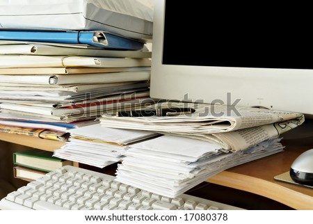 Busy schedule at the home office. - stock photo