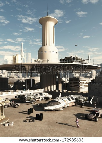 Busy spaceport in a futuristic science fiction city on a bright sunny day, 3d digitally rendered illustration - stock photo