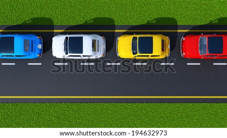 busy street, cars on asphalt and grass green (top view) - stock photo