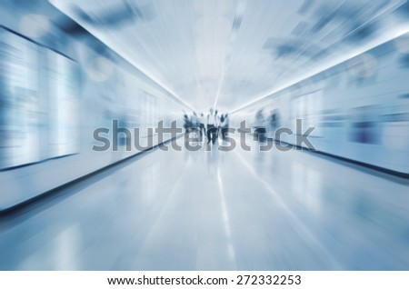 Busy street in Asia with copy space in blue tone. Purposely blurred with a len. - stock photo