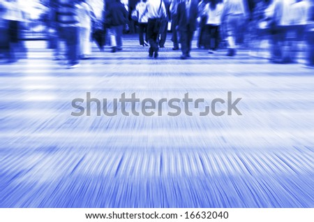 Busy street in China with copy space. Purposely blurred with a lens. - stock photo