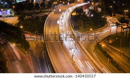 Busy traffic in Kuala Lumpur, Malaysia - stock photo