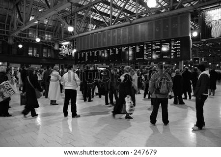 busy train station - stock photo