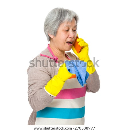 Busy woman chat on cellphone - stock photo