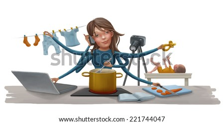 Busy woman doing simultaneously many tasks cooking cleaning reading working baby caring and talking on the phone. Modern mother concept - stock photo