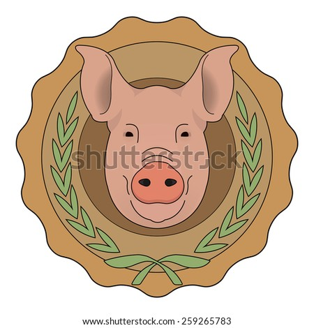 Butchery organic food raster eco logo. Big pink pig head in orange stamp with laurel wreath. Color illustration isolated on  white - stock photo