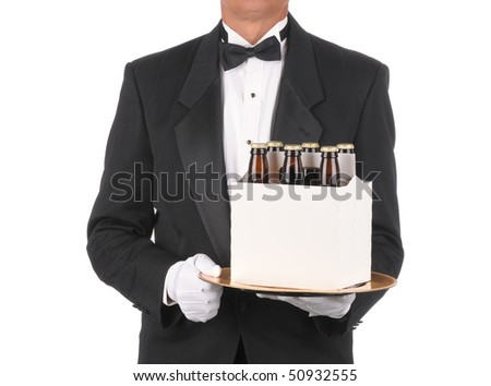 Butler in Tuxedo torso only with a Six Pack of Beer on Tray isolated on white - stock photo