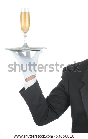 Butler wearing tuxedo and formal gloves holding a champagne glass on a silver tray. Shoulder hand and arm only isolated on white vertical composition. - stock photo