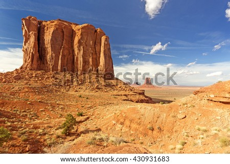 butte rock formation in monument valley, arizona - stock photo