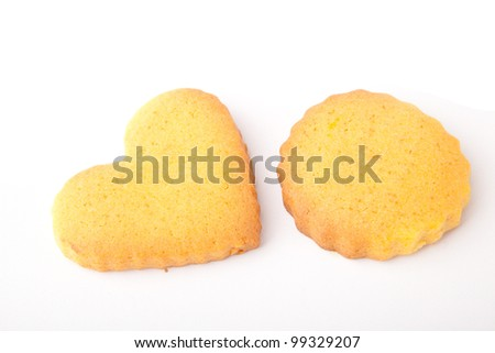 Butter cookies, isolated over white background - stock photo