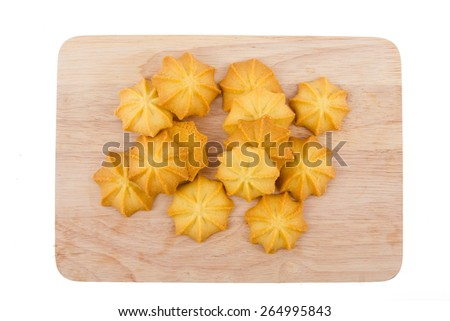 Butter cookies on disc isolated on white background , breakfast - stock photo