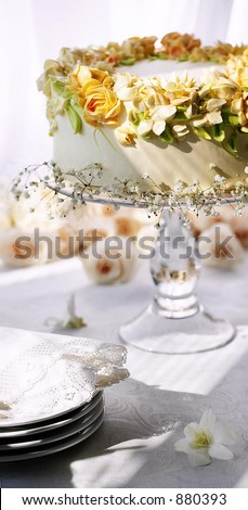 Butter cream Cake on a Stand - stock photo