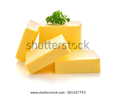 butter isolated on white background - stock photo