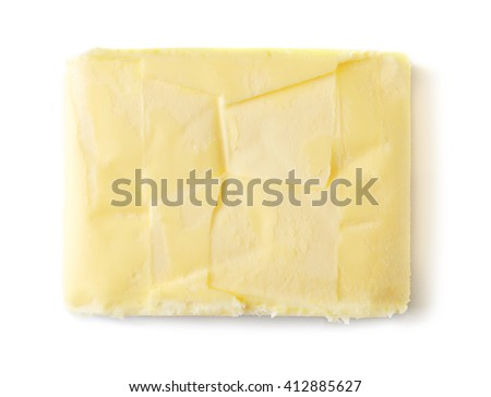 Butter isolated on white background, top view - stock photo