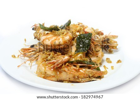 Butter prawn with cereal Chinese style white background  - stock photo
