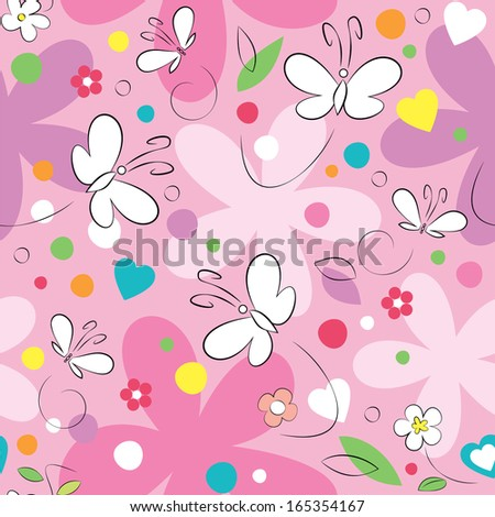 butterflies and flowers illustration on pink background - stock photo