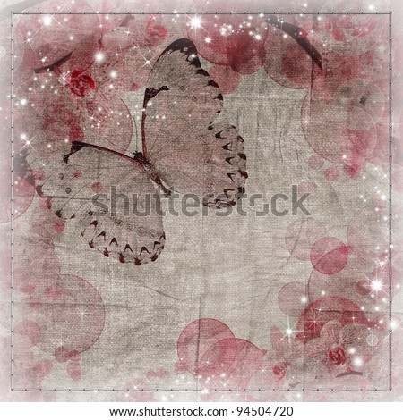 Butterflies and orchids flowers  background - stock photo