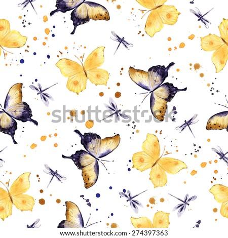 Butterflies. Watercolor. Seamless pattern - stock photo