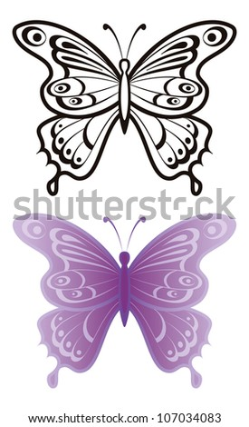 Butterflies with open wings, black contour and monochrome lilac, isolated on white background - stock photo
