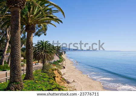 Butterfly beach along Channel Drive in Santa Barbara, California. - stock photo