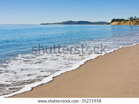 Butterfly beach in Santa Barbara on a very calm day. - stock photo