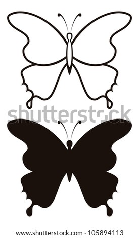 Butterfly black silhouettes with opened wings, set isolated on white background - stock photo
