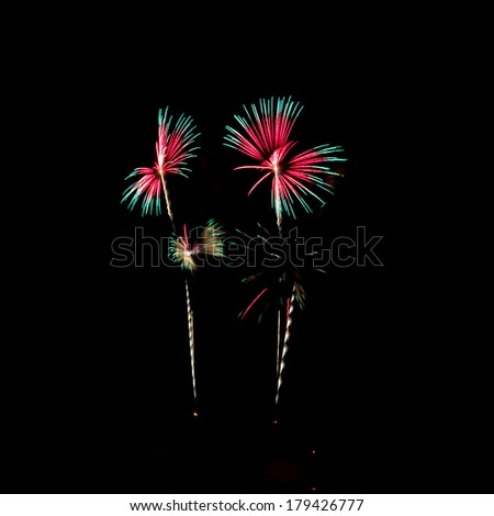 Butterfly firework celebration at the beach, Hua Hin, Thailand. - stock photo