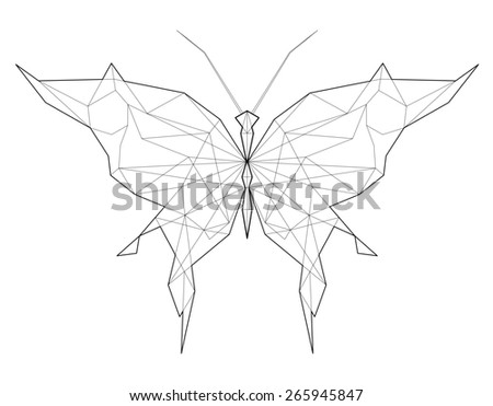 Butterfly. Low polygon linear illustration - stock photo