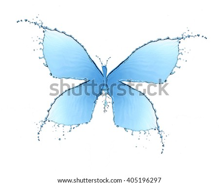 Butterfly made of water splashes isolated on white - stock photo