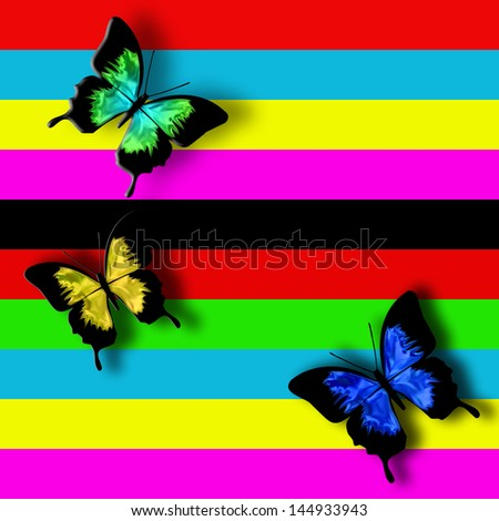 Butterfly magical graphic illustration of three butterflies on colorful background - stock photo