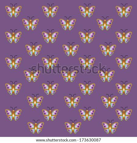 Butterfly pattern on a purple background./Butterfly Pattern - stock photo