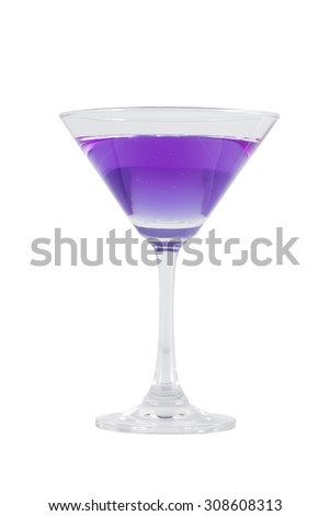 Butterfly pea flower juice in cocktail glass, herb drink, that is qualify as an antioxidant isolated on white with clipping path - stock photo