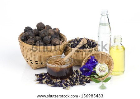 Butterfly pea, honey, olive oil, coconut oil and Soap Nut Tree of natural herbs for hair. - stock photo