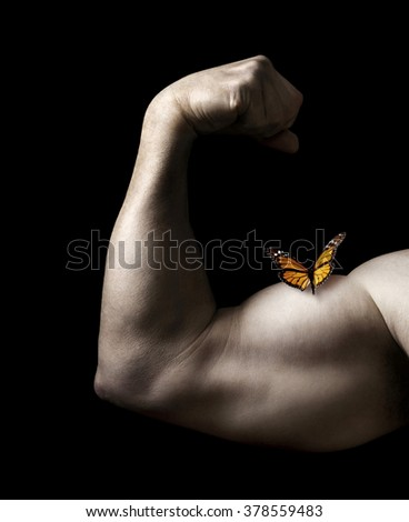 Butterfly Resting on Man Flexing Bicep Muscle on a Black Background - stock photo